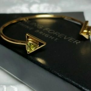 Sterling Forever 14KGP Triangle Open Cuff